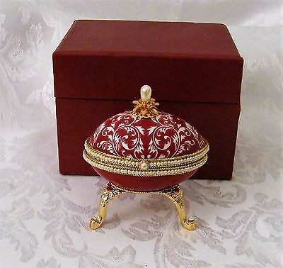 Decorative Ornate Goose Egg Trinket or Ring Box on Stand