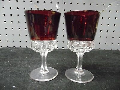 Nice Pair Of Rare EAPG Heisey  Punty Band Wine Glasses w/ Ruby Stain /  # 310925