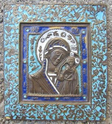 Old Russian Bronze Enamel Icon Of Kazan Mother Of God