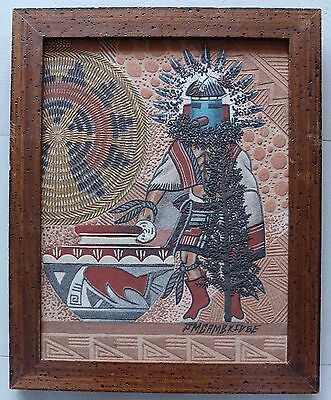 Talavai Kachina Sand Painting By Navajo Artist James Cambridge Signed With Story