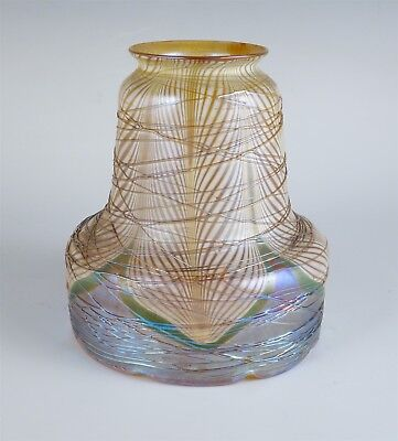 Charming Antique c1900 Iridescent Pulled Feather Art Glass Light Shade