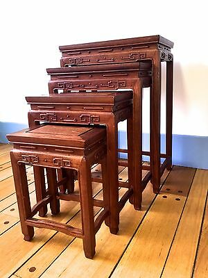 antique/vintage CHINESE carved ROSEWOOD  NESTING TABLES