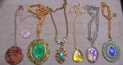 Vintage Lot Of 6 Large Pendant Necklaces,carved,enamel,lucite,glass,turquoise