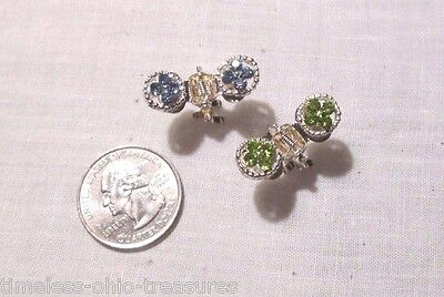 """Scarf dress clip pair of 2 rhinestones blue green silver colored metal 1"""" across"""