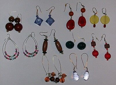 Vintage Lot Of 10 Pair Beaded Dangle Pierced Earrings