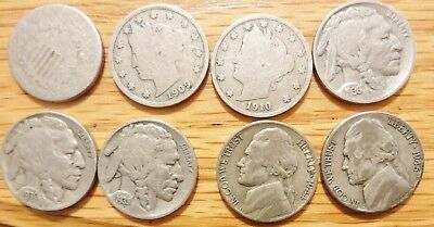8 Out-of-Circulation Nickel 5c - 1-Sheild 2-Liberty(V) 3-Buffalo & 2-Silver WWII