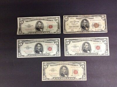 (5)U.S $5.00 Dollar Older US Notes + National Currency Kansas City-$25.00 Face