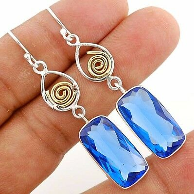 "24CT Two Tone- Sapphire 925 Solid Sterling Silver Earrings Jewelry 2 1/4"" Long"