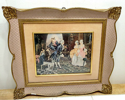 Antique Vintage Gilt Brass Gold Picture Frame Convex Glass Colonial Print Wood