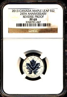 2013 $2 1/10 Canada Silver Maple Leaf Ngc Pf69 Reverse Proof 25Th Anniversary