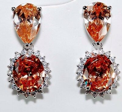 4CT Padparadscha Sapphire & Topaz 925 Solid Sterling Silver Jewelry Earrings