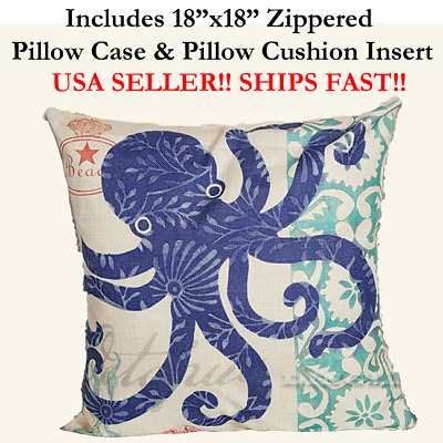"18x18 18"" 18in Nautical MARINE OCTOPUS BEACH Zipper Throw Pillow Case & Cushion"