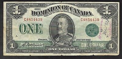 Canada - Old Large Size 1 Dollar Note - 1923 - P33h - VG/FINE