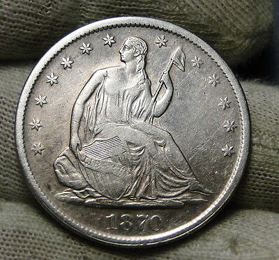 1870S Seated Liberty Half Dollar 50 Cents. Key Date 1,004,000 Minted (6395)