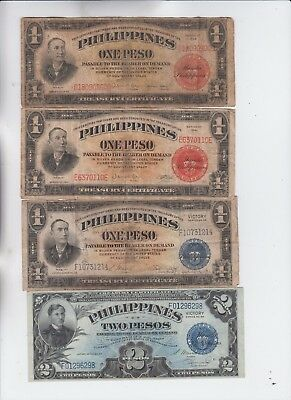 Philippines Paper Money four old note lower grade to vf one is a short snorter