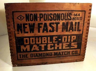 Antique FAST MAIL Matches Country Store Wood Shipping Box Frederick, MD c1920s