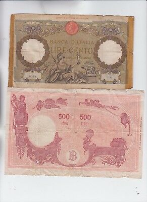 Italy Paper Money 4 old notes lower grade