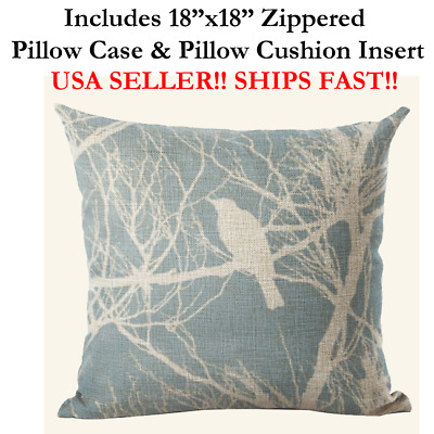 """18x18 18"""" 18in BIRDS ON A LINE BRANCH BABY BLUE Zippered Pillow Case & Cushion"""