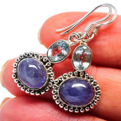 "Tanzanite, Blue Topaz 925 Sterling Silver Earrings 1 3/8"" Jewelry E358506"