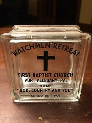 Port Allegany PA Old Vintage Glass Block Bank First 1st Baptist Church Watchmen