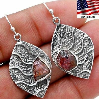 Pink Rough Tourmaline 925 Solid Sterling Silver Earrings Jewelry S3-1