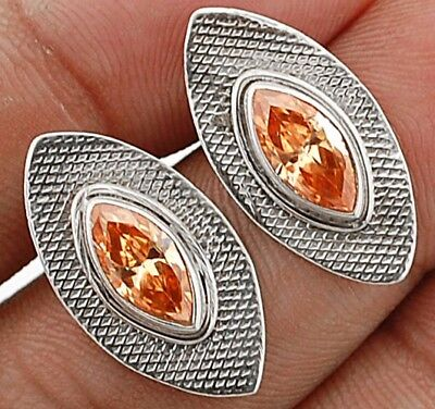 """Padparadscha Sapphire 925 Solid Sterling Silver Earrings Jewelry 7/8"""" Long"""