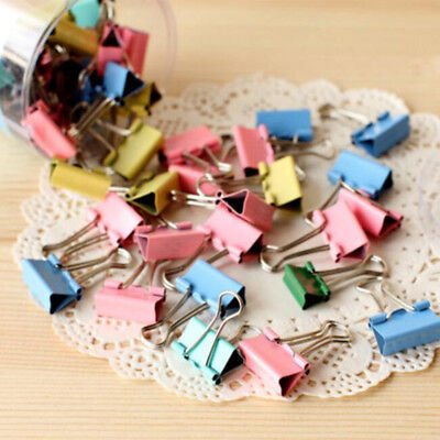 Nice Paper Clip Holder Documents Metal Binder Clips Office Stationary 10Pcs
