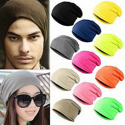 Unisex Women Men Knit Winter Warm Ski Crochet Slouch Hat Cap Beanie Oversized BW