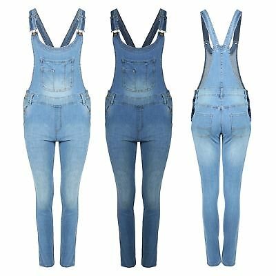 Womens Ladies Denim Faded Full Length Pinafore Jeans Overall Jumpsuit Dungaree