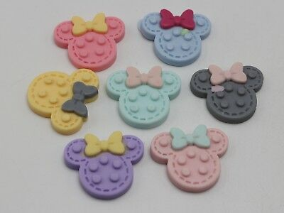 20 Mixed Pastel Color Flatback Resin Mouse Head Cabochon 30X25mm Scrapbooking