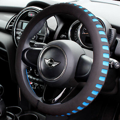 Blue & Black Comfy Foam Car Steering Wheel Cover/glove - Universal Padded Design