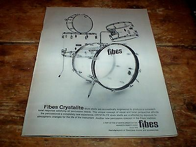 FIBES DRUMS ( see-through CRYSTALITE model ) 1971 Vintage magazine PROMO Ad NM-