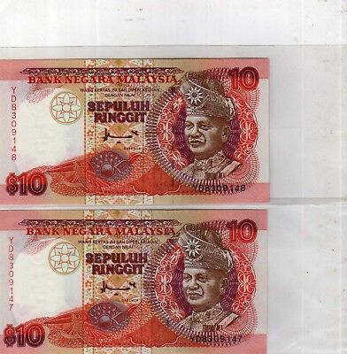2 pieces running number Malaysia 1986 7th series Ahmad Don RM10