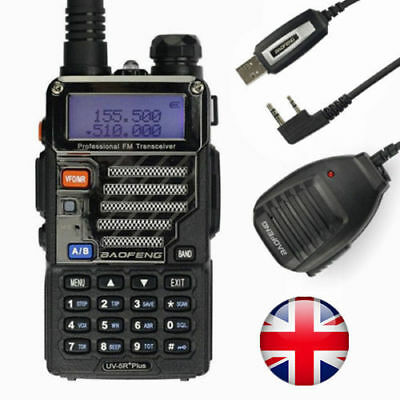 Baofeng UV-5R Plus + USB Cable Kit + Speakers VHF/UHF Ham Radio Walkie Talkie UK