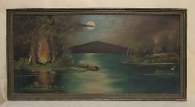 Vtg. original landscape oil painting on board wood framed signed Wilson