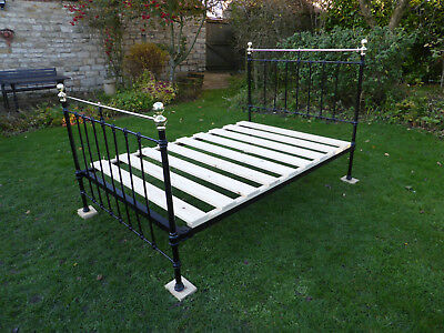 Victorian Cast Iron + Brass Double Bed. Beautifully Restored.