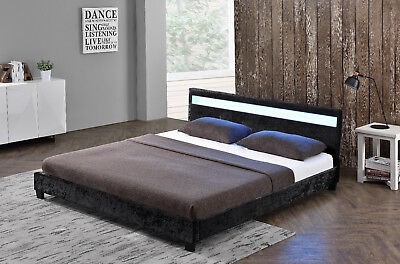 COOL CRUSHED VELVET LED  Black Silver Gold Single Double Bed *FREE DELIVERY*
