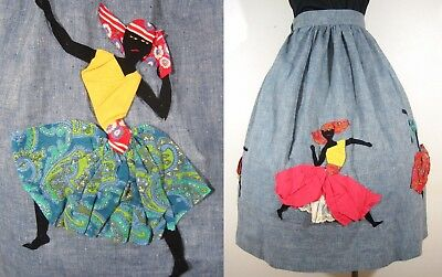 L/XL 1950's APPLIQUED WOMEN SKIRT Vintage 50's Detailed Jamaican African DRESS