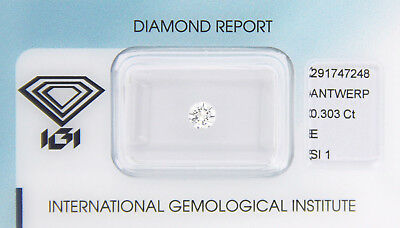 Diamant 0,303 ct E SI 1 IGI Zertifikat  - Sealed -