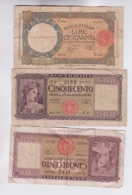Italy Paper Money 3 old notes lower grade and up
