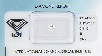 Diamant 0,31 ct E VS 2 IGI Zertifikat  - Sealed -