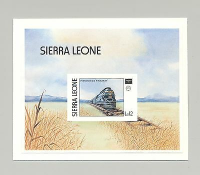 Sierra Leone #768 Trains, Ameripex 1986 1v. s/s imperf proof mounted on card