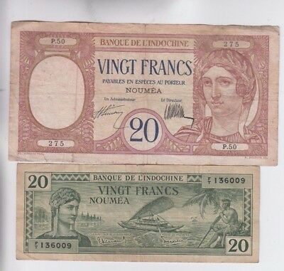 New Caledonia Paper Money two old note fine stains