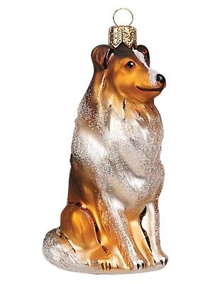 Collie Dog Polish Mouth Blown Glass Christmas Ornament  Tree Decoration