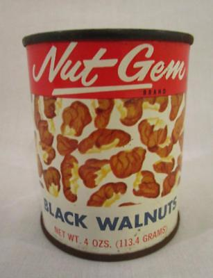 FULL NOS 1970's VINTAGE UNOPENED NUT GEM BLACK WALNUTS TIN CAN