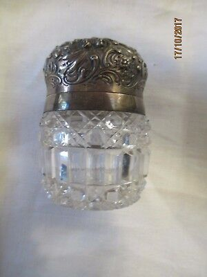 Antique Sterling Silver Repousse' & Cut Glass Perfume ca 1880-1900