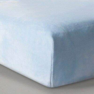 NEW Plush Fitted Crib Sheet Solid - Cloud Island  Light Blue