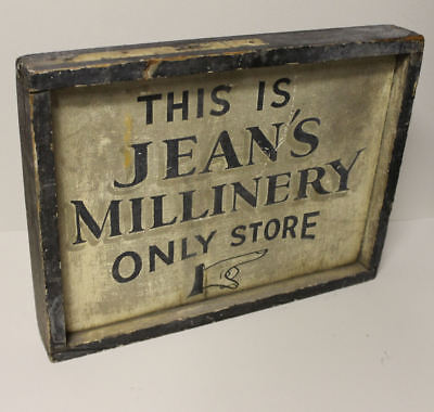 Hat Advertising Sign Country Store Trade Store Folk Art Sign for Millinery