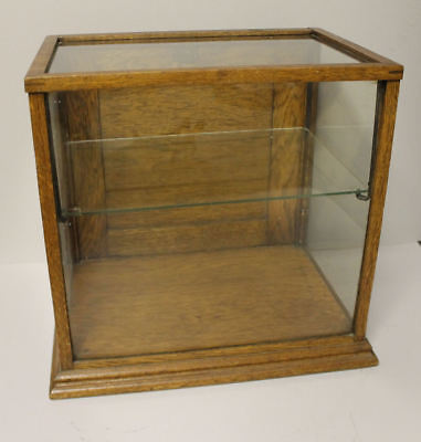 Antique Country Store Counter Top Showcase – Oak Case – Glass Shelf