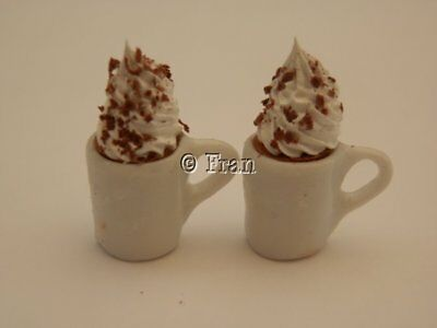 Dolls house food: Two mugs of hot chocolate with cream  -By Fran